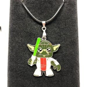 Other - Playful Yoda Pendant Leather Cord Necklace